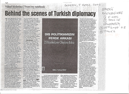 Behind The Scenes Of Turkish Diplomacy, 05/02/2006